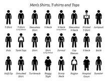 Все рубашки людей, футболки, и покрывают дизайны иллюстрация вектора