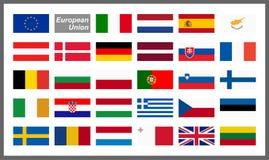 все флаги страны Европейского союза Стоковое Изображение