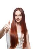 Вскользь большие пальцы руки поднимают женщину стоковая фотография rf