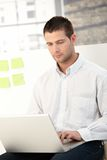 Вскользь работник офиса используя компьтер-книжку Стоковые Фото