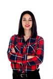 Вскользь девушка брюнет с красной рубашкой шотландки Стоковые Фото