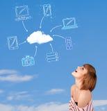 Вскользь девушка смотря концепцию облака вычисляя на голубом небе стоковая фотография rf