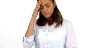 Вскользь женщина с головной болью сток-видео