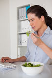 Вскользь коммерсантка брюнет есть салат на ее столе Стоковые Изображения