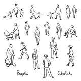 Вскользь эскиз людей Иллюстрация вектора чертежа руки плана Стоковое фото RF