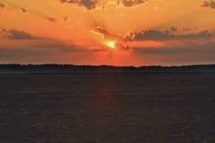 Вспаханное поле на зоре Стоковые Изображения