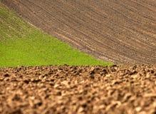 Вспаханное поле, обрабатываемая земля на весне, Стоковое Фото