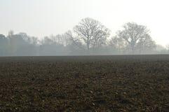 Вспаханное поле урожая в сельской Англии Стоковая Фотография RF