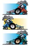 Вспахивать тракторов фермы стоковые фотографии rf