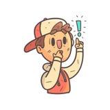 Вспоминающ что-то важный мальчик в портрете Emoji крышки и куртки коллежа нарисованном рукой холодном законспектированном Стоковое Изображение
