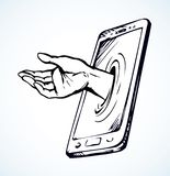 Вспомогательное обслуживание смартфона предпосылка рисуя флористический вектор травы стоковые изображения rf