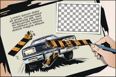 вспомогательную Автомобиль ломая барьер загородки шток померанца иллюстрации предпосылки яркий иллюстрация штока