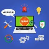 Вспомогательное обслуживание службы технической поддержки компьютера концепции иллюстрация штока