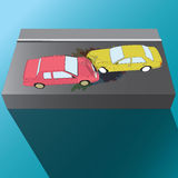 вспомогательную авария столкновения автомобилей автомобиля большая имеет скорость замороженную хайвеем бесплатная иллюстрация