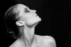 Всполошенный женский профиль Стоковое Фото