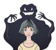 Вспугнутый девочка-подросток перед психологией, страхами и фобиями призрака чудовища Красочное плоское ilustration вектора иллюстрация вектора