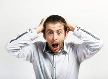 Вспугнутый и удивленный человек стоковое изображение rf