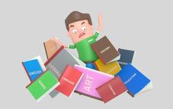 Вспугнутый студент под кучей книг бесплатная иллюстрация