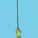 Вспугнутый человек держа веревочку Стоковое Изображение