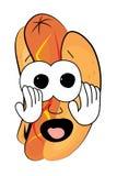 Вспугнутый шарж горячей сосиски Стоковое Изображение RF