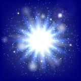 Вспышка звезды на голубой предпосылке Стоковые Фотографии RF
