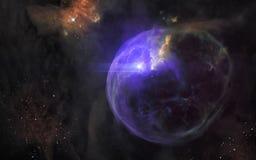 Вспышка сверхновой звезды Ландшафт глубокого космоса, межзвёздные облака, звездные скопления E стоковое изображение rf