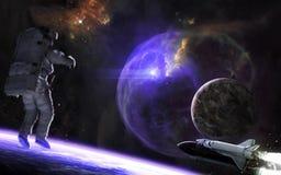 Вспышка сверхновой звезды Exoplanets, астронавт в глубоком космосе E стоковое изображение rf