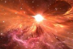 Вспышка сверхновой звезды с межзвёздным облаком на заднем плане Стоковое Фото