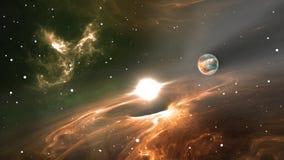 Вспышка сверхновой звезды с планетой, газом и пылью Стоковое Изображение