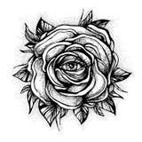 Вспышка татуировки Blackwork Розовый цветок Сильно детальная иллюстрация вектора на белизне Дизайн татуировки, мистический символ стоковое фото