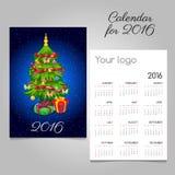 2-встали на сторону календарь с рождественской елкой и подарками Стоковые Фотографии RF