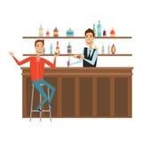 Встречайте и обсудите на баре с хорошими друзьями Стиль квартиры и шаржа Белая предпосылка также вектор иллюстрации притяжки core Стоковое фото RF