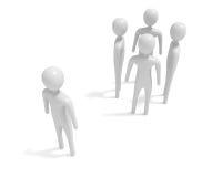 Встречать: 4 белых люд 3d и один аутсайдер, иллюстрация 3d Стоковое Изображение