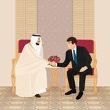 Встреча араба и бизнесменов или политиков европейца иллюстрация штока