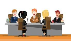 Встреча бизнесмена на большом столе конференции Startup компания люди совместно работая Современный красочный плоский стиль бесплатная иллюстрация