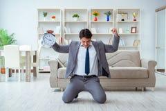 Встреча бизнесмена счастливая его крайние сроки Стоковые Фото