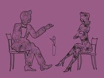 Встреча иллюстрации Девушка и парень на дате Стоковое Изображение RF