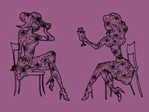 Встреча иллюстрации Переговор между 2 девушками Стоковое Изображение