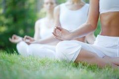 Встреча йоги группы на парке Стоковые Фото