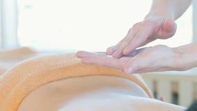 Встреча массажа Руки masseur распределяют сливк на задней части женщины видеоматериал