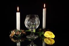 Встреча света горящей свечи Стоковые Изображения RF