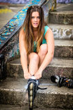 Встроенная девушка коньков Стоковые Фото