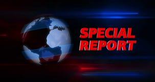 Вступление названия передачи специализированного рапорта с глобусом в предпосылке иллюстрация штока