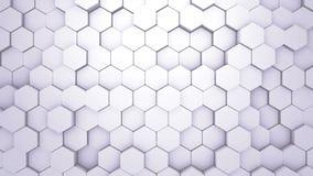 Вступление шестиугольника конспекта геометрическое Оживленный поверхностный отснятый видеоматериал петли Светлая шестиугольная пр бесплатная иллюстрация