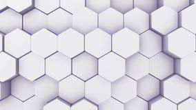 Вступление шестиугольника конспекта геометрическое Оживленный поверхностный отснятый видеоматериал петли Светлая шестиугольная пр иллюстрация вектора