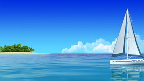 Вступление перемещения острова плавания яхты иллюстрация штока