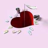 всход влюбленности сердца падения стрелки к Стоковое Изображение