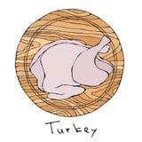 Вся сырцовая Турция, туша цыпленка на круглой разделочной доске Для варить, рождество ед праздника, благодарение, рецепты, гид мя бесплатная иллюстрация