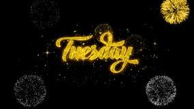 Вторника золотые текста моргать частицы с золотым дисплеем фейерверков иллюстрация штока