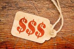 Втройне знак доллара - tage цены Стоковая Фотография